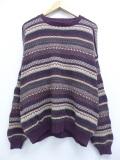 XL★古着 長袖 セーター 90年代 90s フェアアイル コットン クルーネック USA製 エンジ他 19nov11 中古 メンズ ニット トップス
