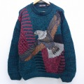 L★古着 長袖 セーター 90年代 90s 鳥 レザー使用 緑 グリーン 【spe】 19nov12 中古 メンズ ニット トップス