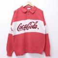 L★古着 長袖 セーター 90年代 90s コカコーラ 襟付き ツートンカラー 赤他 レッド 19nov12 中古 メンズ ニット トップス