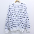 L★古着 長袖 セーター 90年代 90s コットン クルーネック USA製 白 ホワイト 19nov12 中古 メンズ ニット トップス
