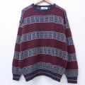 XL★古着 長袖 セーター 90年代 90s ジャンセン クルーネック USA製 エンジ 19nov13 中古 メンズ ニット トップス