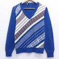 XS★古着 長袖 セーター 70年代 70s Vネック USA製 紺 ネイビー 19nov20 中古 メンズ ニット トップス