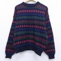 XL★古着 長袖 セーター 90年代 90s 総柄 クルーネック 黒 ブラック 19nov29 中古 メンズ ニット トップス