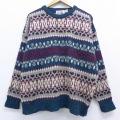 XL★古着 長袖 セーター 90年代 90s フェアアイル ウール クルーネック 青緑 19nov29 中古 メンズ ニット トップス