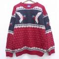 L★古着 長袖 セーター 90年代 90s ウールリッチ WOOLRICH 鳥 ウール クルーネック 赤 レッド 19dec12 中古 メンズ ニット トップス