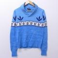 XS★古着 長袖 セーター 80年代 80s 葉 ショールカラー 薄紺 ネイビー 19dec12 中古 メンズ ニット トップス