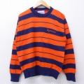 M★古着 長袖 セーター 80年代 80s シラキュース 刺繍 クルーネック USA製 オレンジ他 ボーダー 19dec12 中古 メンズ ニット トップス