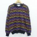 L★古着 長袖 セーター 90年代 90s クルーネック 紫他 パープル 19dec12 中古 メンズ ニット トップス