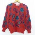 S★古着 長袖 セーター 90年代 90s ペイズリー クルーネック 赤 レッド 19dec12 中古 メンズ ニット トップス