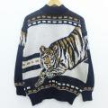 L★古着 長袖 セーター 90年代 90s トラ ラメ ハイネック モックネック 黒 ブラック 19dec12 中古 メンズ ニット トップス