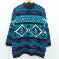 L★古着 長袖 セーター 90年代 90s ダイヤ ハイネック モックネック USA製 青緑他 19dec12 中古 メンズ ニット トップス