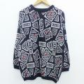 L★古着 長袖 セーター 90年代 90s クルーネック 黒他 ブラック 19dec12 中古 メンズ ニット トップス