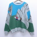 L★古着 長袖 セーター 90年代 90s キャンパス 登山 クルーネック グレー他 19dec18 中古 メンズ ニット トップス