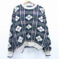 XL★古着 長袖 セーター 90年代 90s 手編み クルーネック 大きいサイズ 緑 グリーン チェック 20jan10 中古 メンズ ニット トップス