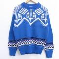 M★古着 長袖 セーター 80年代 80s クルーネック USA製 青他 ブルー 20jan20 中古 メンズ ニット トップス