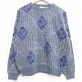 L★古着 長袖 セーター 90年代 90s ダイヤ クルーネック グレー 霜降り 20jan20 中古 メンズ ニット トップス