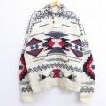 XL★古着 長袖 セーター ネイティブ柄 手編み 大きいサイズ ウール ショールカラー 生成り 【spe】 20jan20 中古 メンズ ニット トップス