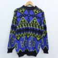 M★古着 長袖 セーター 90年代 90s クルーネック ロング丈 USA製 紫他 パープル 20jan31 中古 メンズ ニット トップス