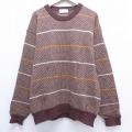XL★古着 長袖 セーター 90年代 90s クリスチャンディオール Christian Dior ウール クルーネック イングランド製 茶 ブラウン 20feb07 中古 メンズ ニット トップス
