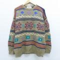 L★古着 長袖 セーター 雪柄 手編み クルーネック 薄茶 ブラウン 20sep08 中古 メンズ ニット トップス