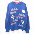 M★古着 長袖 セーター 90年代 90s ピューリタン ウール クルーネック 青 ブルー 20sep15 中古 メンズ ニット トップス