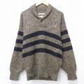 M★古着 長袖 セーター 90年代 90s ショールカラー USA製 薄茶 ブラウン ボーダー 20sep16 中古 メンズ ニット トップス