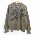 M★古着 長袖 セーター 90年代 90s 雪柄 クルーネック USA製 茶系 ブラウン 20sep17 中古 メンズ ニット トップス