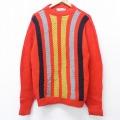 L★古着 長袖 セーター 70年代 70s クルーネック USA製 赤他 レッド 20sep17 中古 メンズ ニット トップス