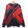 L★古着 長袖 セーター ウール クルーネック ツートンカラー 赤他 レッド 20sep17 中古 メンズ ニット トップス