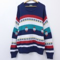 L★古着 長袖 セーター 90年代 90s ジャンセン ロング丈 クルーネック USA製 紺他 ネイビー 20sep18 中古 メンズ ニット トップス