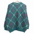 XL★古着 長袖 セーター 90年代 90s ベネトン BENETTON クルーネック イタリア製 濃緑 グリーン 20sep21 中古 メンズ ニット トップス