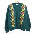 L★古着 長袖 セーター 90年代 90s ベネトン BENETTON アーガイル クルーネック イタリア製 緑 グリーン 20sep21 中古 メンズ ニット トップス