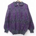 L★古着 長袖 セーター 90年代 90s 襟付き ウール イタリア製 濃グレー他 霜降り 20sep22 中古 メンズ ニット トップス