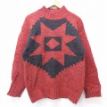 S★古着 長袖 セーター 90年代 90s ウール ハイネック モックネック 赤他 レッド 20sep22 中古 メンズ ニット トップス