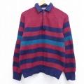 S★古着 長袖 セーター 90年代 90s ラグラン エンジ ボーダー 20sep22 中古 メンズ ニット トップス