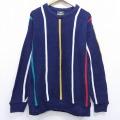 L★古着 長袖 セーター 90年代 90s ジャンセン クルーネック 紺 ネイビー ストライプ 20sep23 中古 メンズ ニット トップス