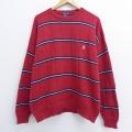 L★古着 長袖 ブランド セーター 90年代 90s ノーティカ NAUTICA ワンポイントロゴ コットン クルーネック 赤 レッド ボーダー 20sep24 中古 メンズ ニット トップス