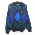 M★古着 長袖 セーター 90年代 90s 襟付き ウール イタリア製 黒他 ブラック 20sep24 中古 メンズ ニット トップス