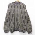 XL★古着 長袖 セーター 90年代 90s 3Dニット クルーネック USA製 黒他 ブラック 20sep24 中古 メンズ ニット トップス