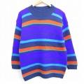 M★古着 長袖 セーター 90年代 90s クルーネック USA製 紫他 パープル ボーダー 20sep24 中古 メンズ ニット トップス