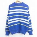 M★古着 長袖 セーター 90年代 90s ウール クルーネック USA製 青他 ブルー ボーダー 20sep24 中古 メンズ ニット トップス