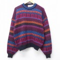 L★古着 長袖 セーター 80年代 80s マクレガー McGREGOR フェアアイル クルーネック 赤他 レッド 20oct01 中古 メンズ ニット トップス