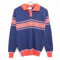 XS★古着 長袖 セーター 70年代 70s モンゴメリーワード ラグラン 襟付き USA製 紺他 ネイビー 20oct02 中古 メンズ ニット トップス