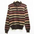 XS★古着 長袖 ビンテージ セーター 80年代 80s キャンパス USA製 こげ茶他 ブラウン ボーダー 20oct23 中古 メンズ ニット トップス