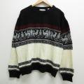 XL★古着 長袖 セーター 80年代 80s トナカイ 大きいサイズ クルーネック 黒他 ブラック 20oct23 中古 メンズ ニット トップス