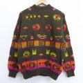 M★古着 長袖 セーター 90年代 90s ベネトン BENETTON ネイティブ柄 ラグ柄 緑 グリーン 20dec09 中古 メンズ ニット トップス