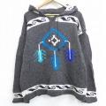 L★古着 長袖 セーター パーカー ネイティブ柄 ラグ柄 手編み ウール グレー 21jan28 中古 メンズ ニット トップス