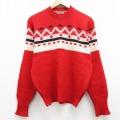 M★古着 長袖 セーター 70年代 70s ウール クルーネック 赤他 レッド 21feb12 中古 メンズ ニット トップス