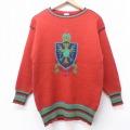 S★古着 長袖 セーター エンブレム 西ドイツ製 クルーネック 赤 レッド 21mar05 中古 メンズ ニット トップス