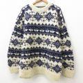 XL★古着 長袖 セーター メンズ 手編み 大きいサイズ ウール クルーネック 紺 ネイビー 【spe】 21sep28 中古 ニット トップス